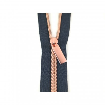 #5 Zipper by the Yard Navy 108 with 12 Pulls Copper