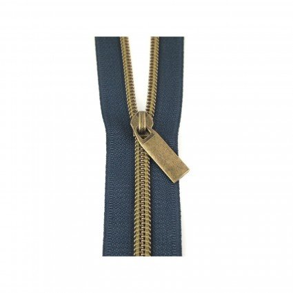 #5 Zipper by the Yard-Navy w/Antique Coil