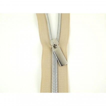 #21 Zipper by the Yard Beige w/Silver