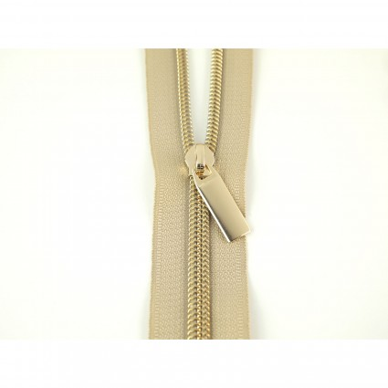 #22 Zipper by the Yard Beige w/Gold