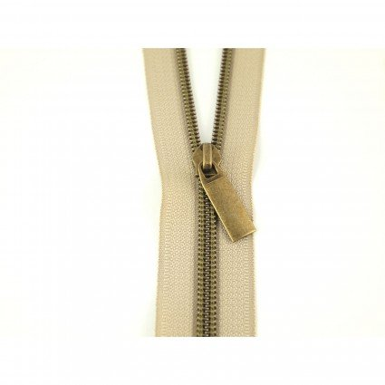 3 Yards #5 Beige Zipper Tape with Antique Brass Coil with 9 Pulls