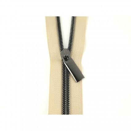 #5 Zipper by the Yard Beige w/ Gunmetal