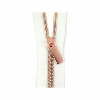 #5 Zipper by the Yard White/Rose Gold