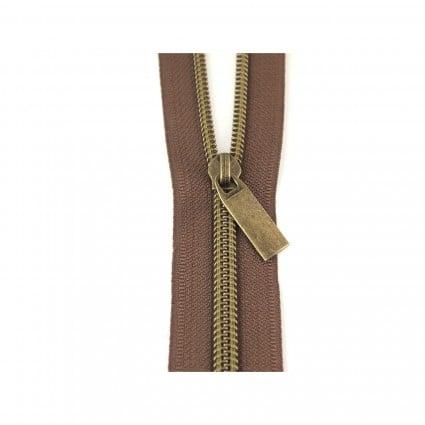 Zipper by the Yard + 9 pulls BRN /ANT