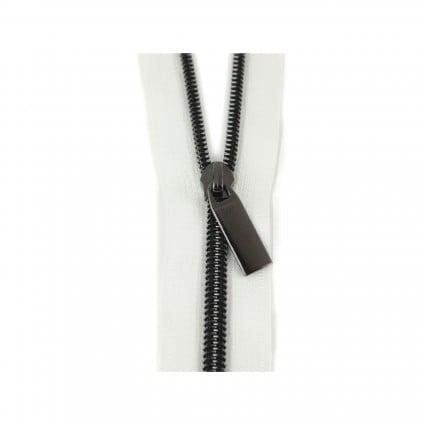 #5 Zipper by the Yard White w/ Black