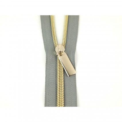 #7 Zipper by the Yard Gray w/Gold