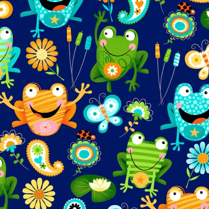 Toad-ally Terrific Navy Background