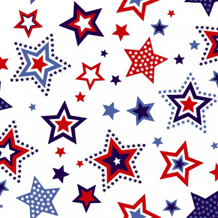 Red, White & Starry Blue Red and Blue Stars on White