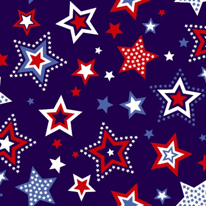Red, White & Starry Blue Red and White Stars on Blue