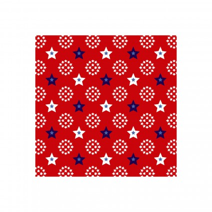 Red, White & Starry Blue Mini Star Circles on Red
