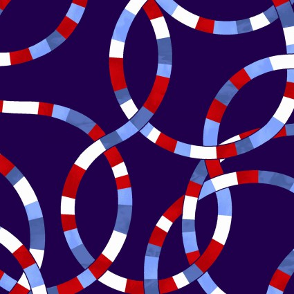 Red White Blue Lazy Loops 108in Wide Back
