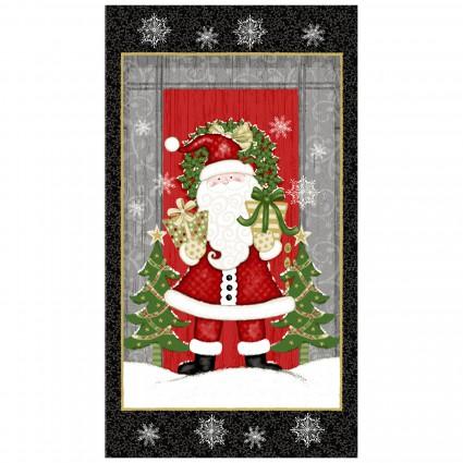 2/3 Yard Panel Winter Greetings Large Santa