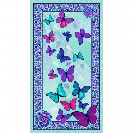 Studio E Viva Terra Teal Butterfly Panel 24in x 44in