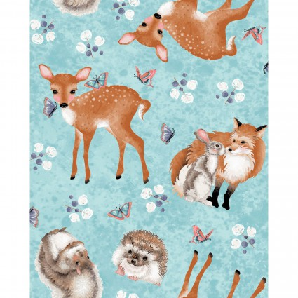 Forest Friends Blue Tossed Animal Print