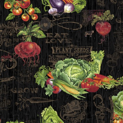Farmer's Market, Vegetables on Black - by Geoff Allen for Studio Efor