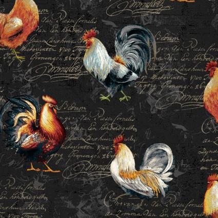 Farmer's Market - Roosters on Black - by Geoff Allen for Studio E Fabrics