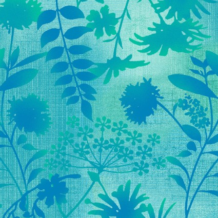 Feather & Flora Teal Leaves SEF4493-76