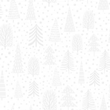 Snowy Magic white pine tree fabric 4639