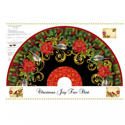 Christmas Joy 36 x 58 Tree Skirt Panel with Metallic