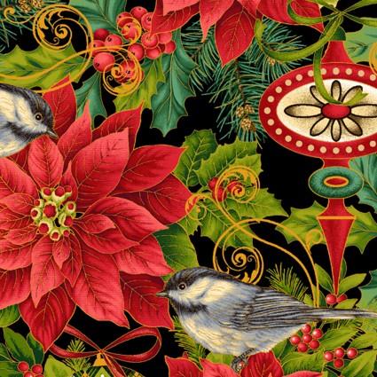 Christmas Joy Poinsettia Print with Metallic