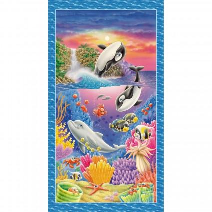 Sea World Fun Ocean Panel 100% Cotton 5043P-78