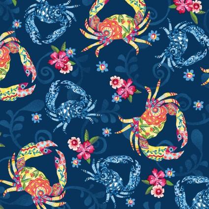 Blooming Ocean Dk Blue Floral Crustaceans 5409-77