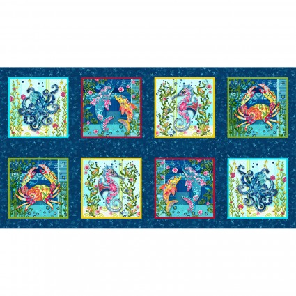 Blooming Ocean Dk Blue 9 inch Blocks 5411-77