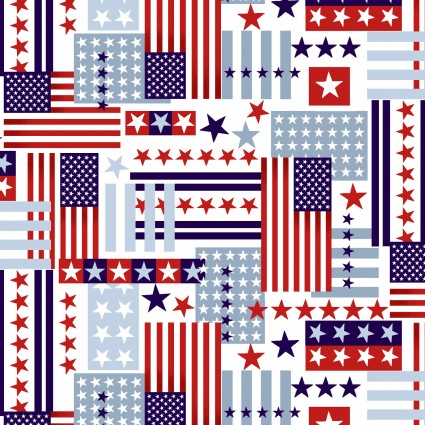 American Style Fabric Collage by Studio E
