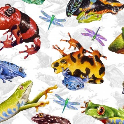 Jewels of the Jungle - Frog and Dragonfly Allover 5564-9