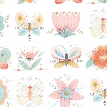 Dream Catchers Cream Floral Flannel