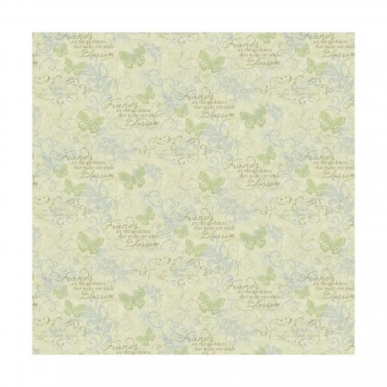 Scroll Words in Light Green - Friends are the Gardeners that make our souls Blossom:  Rose Divine by Mia for Springs Creative