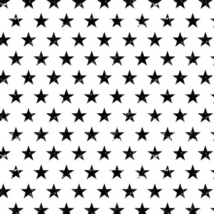 Basically Black+White - Distressed Stars White by Patrick Lose Fabrics