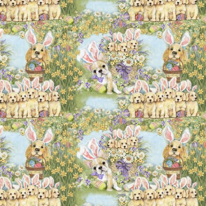 Easter Dog Bunnies 100% Cotton 42-44 WIde