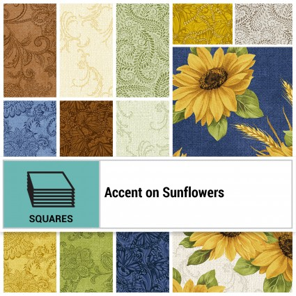 Accent on Sunflowers - 10 x 10 squares