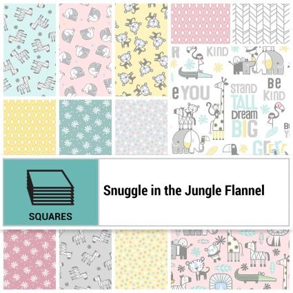 Snuggle in the Jungle Flannel 10 Squares - 42 pc