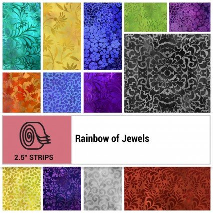 Rainbow of Jewels Jelly Roll 42 Strips