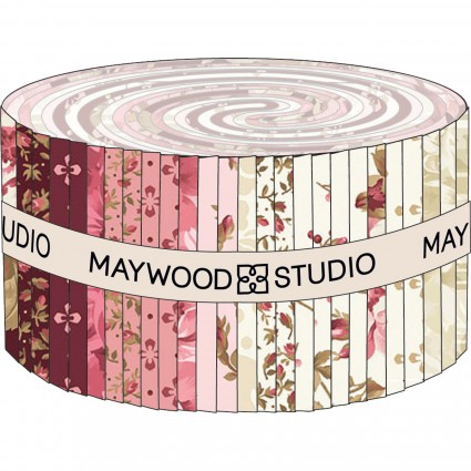 Burgundy & Blush (40) 2 1/2 x WOF Strips by Maywood Studio