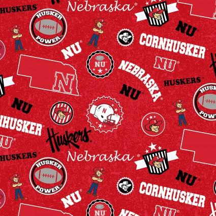 University of Nebraska Tossed Print 100% Cotton NE-1208