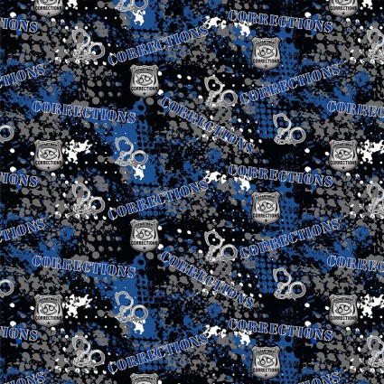 Corrections Officer Allover Fabric by the Yard
