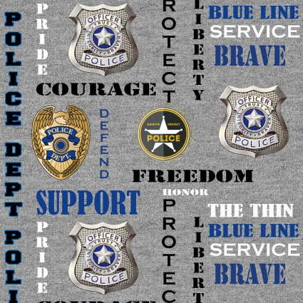 Police Badges on gray background
