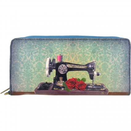 Zippered Wallet Floral Sewing Machine