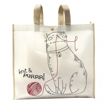 Knit and Purrrl Tote Bag