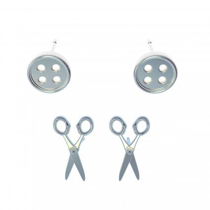 Button/Scissor Earrings