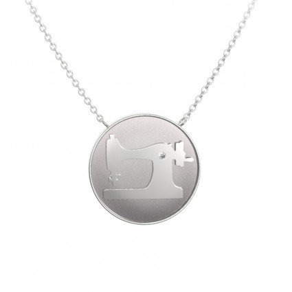 Sewing Machine Coin Pendant - silver