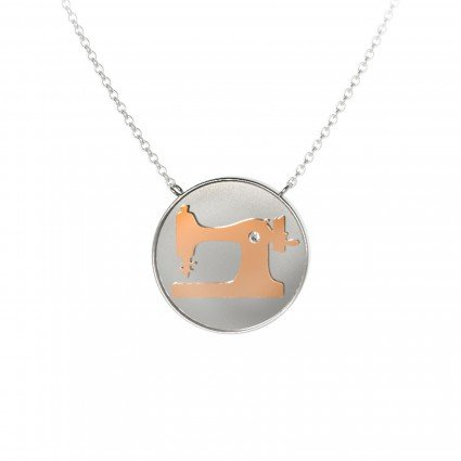 Sewing Machine Coin Pendant - rose gold/Silver