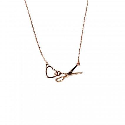 Scissor/Heart Charm Necklace - rose gold