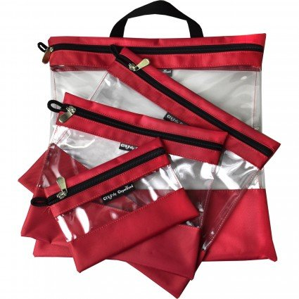 Clearly Organized Clear Bag Set - Red