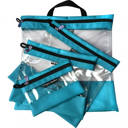 Turquoise Clearly Organized Clear Bag Set