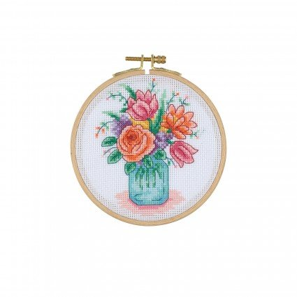 Cross Stitch Kit with Wooden Hoop - Flowers in a Jar