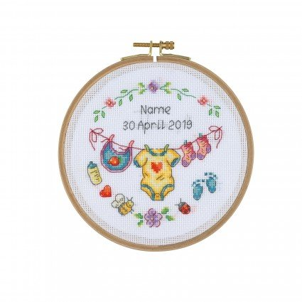 Cross Stitch Kit with Wooden Hoop - Baby Clothesline